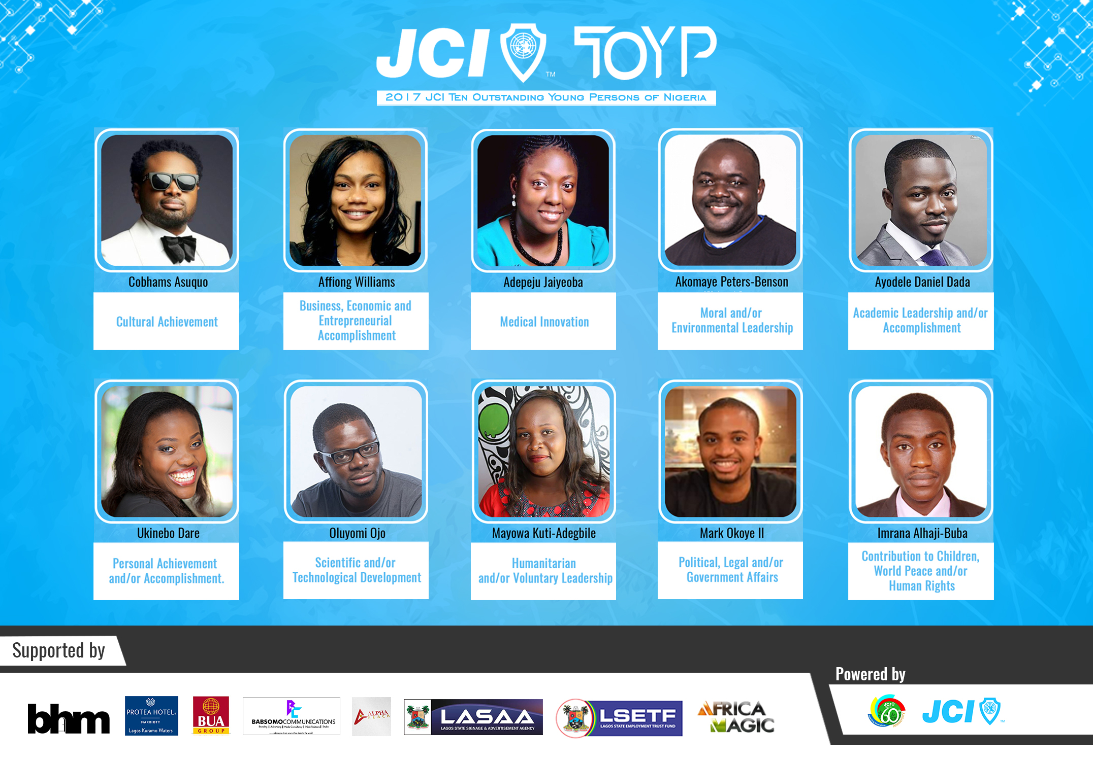 Jci Announces The 2017 Ten Outstanding Young Persons Of Nigeria (Jci Toyp) Award Recipients