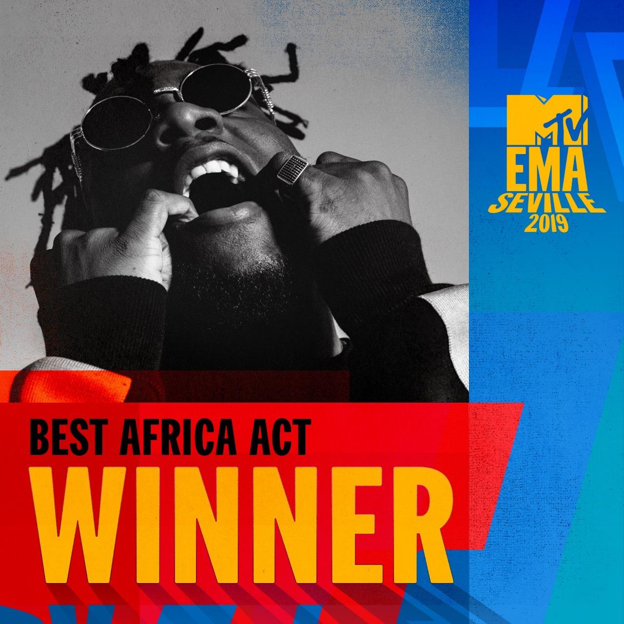 Burna Boy Wins 'Best Africa Act' Award at 2019 MTV EMA's
